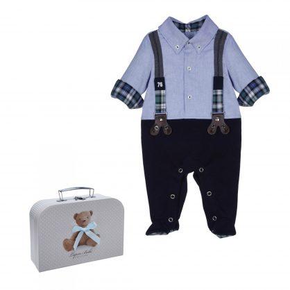 Blauer Anzug und Koffer